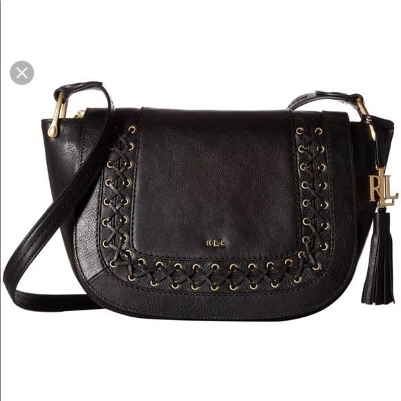1df56a32c624 Nwt Lauren Ralph Lauren black leather saddle bag